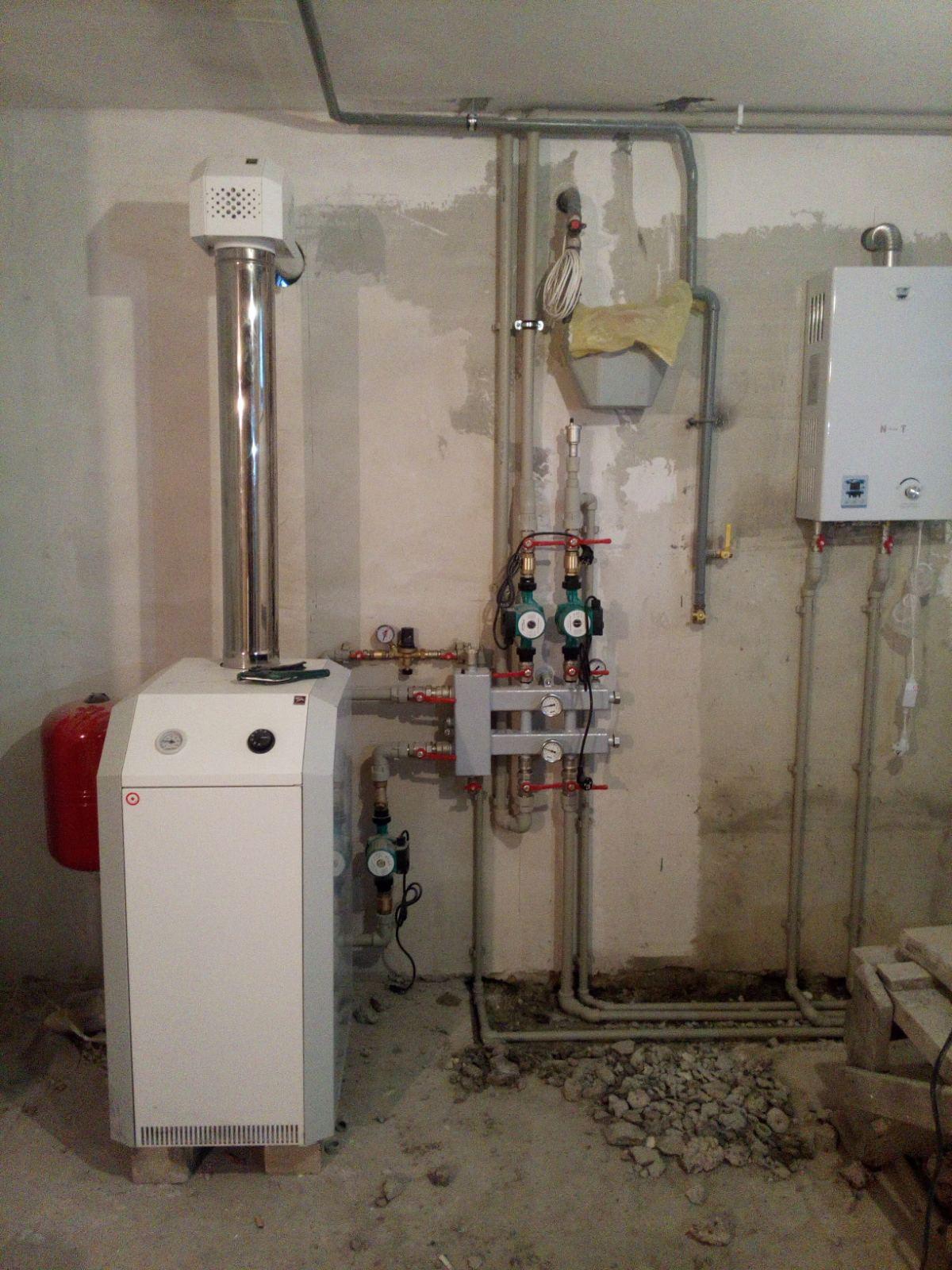 Газовый напольный котел с газовой колонкой