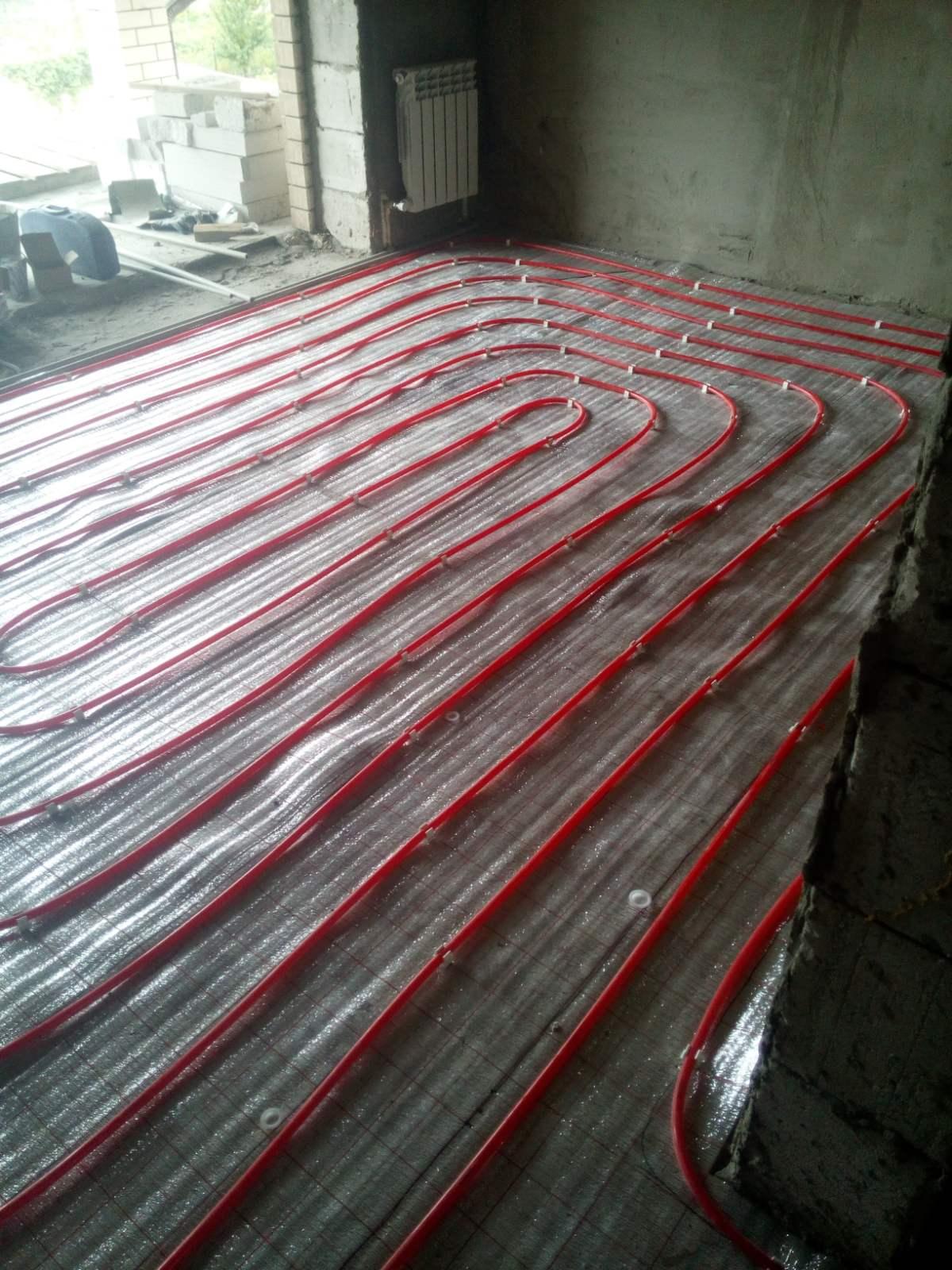 Теплый пол. Укладка трубопровода  Трубы